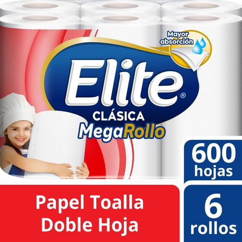 Papel Toalla Elite Clásico Megarollo 6 un