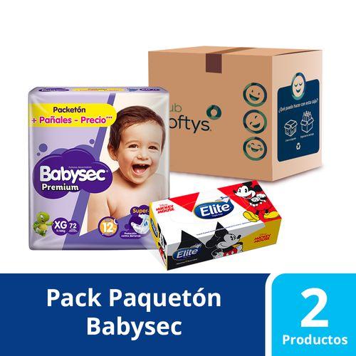 Pack Facial Disney 80 unidades y 72 pañales Babysec Premium talla XXG