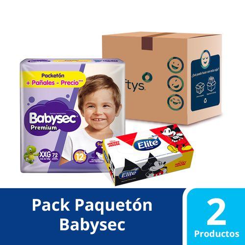 Pack Facial Disney 80 unidades y 68 pañales Babysec Super Premium talla XG