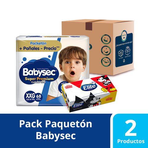 Pack Facial Disney 80 unidades y 68 pañales Babysec Super Premium talla XXG